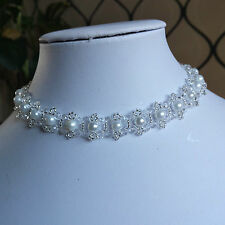 """Pearl & Crystal Beaded CHOKER necklace VINTAGE style WHITE glass 13"""""""