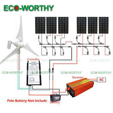 400W Wind Turbine Generator& 6*150W Solar Panel & 1500W 24V-220V Inverter Home
