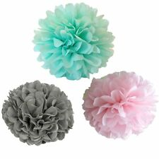 Set of 3 Tissue Paper Pompoms Wedding Party Hanging Decoration Pink Mint Grey