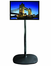 "BLACK Base Chrome Pole TV Monitor 1.5m Stand For Screens up to 40"" up to 24kg"