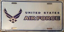 Air Force WHITE w/Wings 9036 Metal License Plate Tag United States Military US