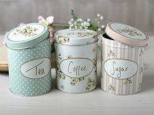 Shabby Chic Storage Tins Canisters Vintage Kitchen Coffee Jars Tea Sugar 3 Set