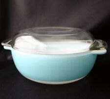 PYREX Turqouise Round Casserole 1045B Clear Lid Crown Mark