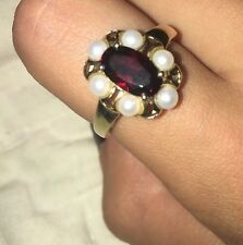 Size 9 14K RUBY with 6 Pearls Yellow Gold Ring BEAUTIFUL!