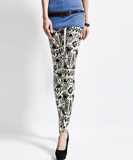 Black & White Aztec tribal pattern soft leggings size 8 - 10 UK, ethnic, totem