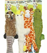 "4 Bottle Skins Stuffing Free Furry Dog Puppy 20"" Toys w/Squeakers Raccoon,Duck +"