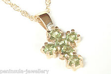 9ct Gold Peridot Cross Pendant and Chain Made in UK Gift Boxed