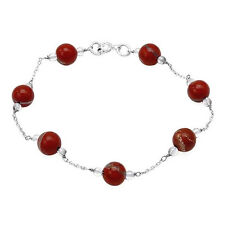 Red Jasper Crystal Beaded Sterling Silver Chain Bracelet 28.00CTW Free Shipping