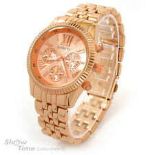 Rose Gold 3D Geneva Large Bracelet Boyfriend Style Women's Watch
