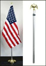 8ft Aluminum Banner Residential Indoor Flag Pole Gold Eagle Base 3x5 USA Fringe