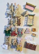 Lot Of 12 Sylvanian Family Calico Critters Figures W/ Furniture Elephants Cats