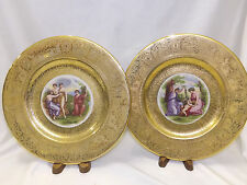 """Royal China Heavy Gold Encrusted 9 Cabinet Plates by Angelica Kauffman 10.25"""""""
