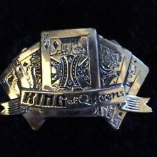 KING OF QUEENS PLAYING CARDS BELT BUCKLE METAL SILVER RARE KING QUEEN