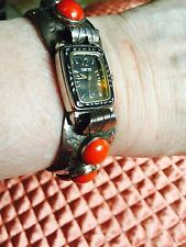 NATIVE AMER. NAVAJO BRACELET/REMOVABLE WATCH-SS/RED CORAL-UNISEX-PRE 1940-$325