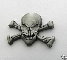 Skull  and Cross Bones Lapel Pin Pewter 1 inch