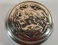 ART NOUVEAU CLASSICAL MAIDEN SILVER PLATED LADIES ROUGE MIRROR COMPACT PILL BOX