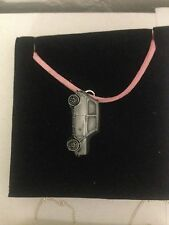 Mini 1275 GT ref149 Pewter Effect Car on a Pink Cord Necklace Handmade 41CM