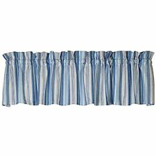 New Cottage Chic Beach House CAPE COD Blue Grey Striped Window Curtain Valance
