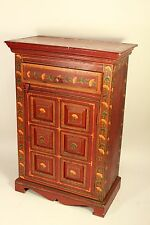 Vtg Furniture Malabar Coast Living India Red Painted Nightstand Cabinet Cupboard