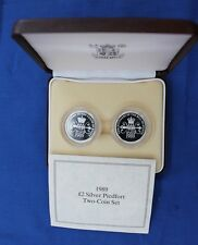"1989 Silver Piedfort Proof £2 set ""Bill & Claim"" in Case with COA  (X5/51)"