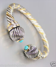 CLASSIC Designer Inspired Silver Gold Cable Turquoise CZ Crystals Cuff Bracelet