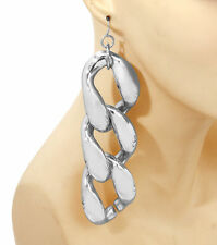 Silver BIG LINK CHAIN II Statement Earrings Dangle Metal Love Hip Hop POST 5""