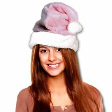 Christmas Santa Claus Plush Pink Soft Fuzzy Hat. One Size Fits Most.