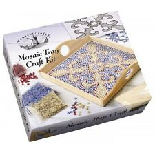 HOUSE OF CRAFTS MOSAIC WOODEN TRAY CRAFT KIT GIFT SET COLOURED TILES & ADHESIVE