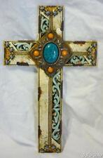 Holy Cross Sewn Tooled Leather Western Bejeweled Wall Cross Made of Polyresin