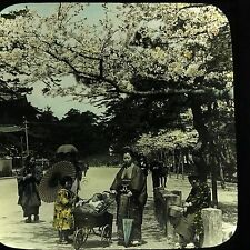 Antique Magic Lantern Glass Slide Photo Tokyo Japan Family Colored