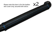 BLUE STITCHING DASH GRAB HANDLE LEATHER SKIN COVER FITS LANCIA FULVIA