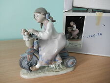 LLADRO 5680 'Travelling in Style' Girl Puppies Bike, Mint, Retired, Rare, Boxed