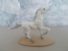 "2 3/4"" Vintage Glazed Porcelain Gray Miniature Horse Figurine on Base"