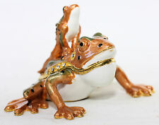 SECRET TWIN FROGS SAFE TRINKET BOX CONTAINER JEWELLERY PILL INSIDE CONTAINER