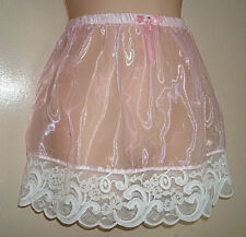 "Adult sissy -Cross Dresser-Sheer Organza PINK Satin SLIP SKIRT w/ Lace 16"" Long"