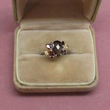 Smoky quartz sterling silver ring with citrine accents cluster 925 size 8