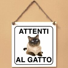 Gatto Thai 3 Attenti al gatto Targa gatto cartello ceramic tiles