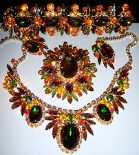 VTG JULIANA D&E WATERMELON RHINESTONE NECKLACE BRACELET BROOCH EARRING SET