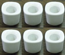 """Lot of 6 White Ceramic Candle Holders for 4"""" Mini Taper Chime Candles"""