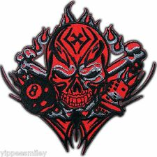 Skull Red Eight Ball Flaming Pool Snooker Dice Biker Rocker Iron on Patch #0103