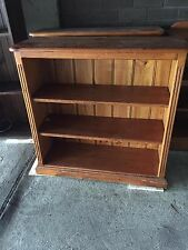 BOOKCASE 4 SHELF ALL PINE TIMBER VJ BACK GOLDEN OAK STAIN STORAGE DISPLAY STRONG