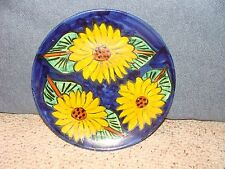 Mexican Talavera Onofre Sunflower Pottery Plate Cobalt Blue 3 Sunflowers