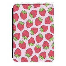 Fruity Strawberry Pattern Pink Cute iPad Mini 1 2 3 PU Leather Flip Case Cover