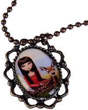 Edles PIN UP Girl mit Reh Vintage Halskette Rockabilly Halsschmuck Kette Schmuck
