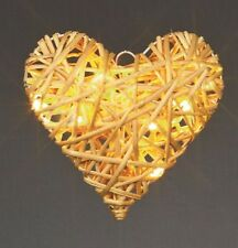 Premier Decorations Branded 18cm Light up Rattan Heart with 8 Warm White LEDs