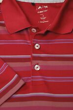 Adidas Men's Dark Pink Purple & Silver Stripe Golf Polo Shirt S Small