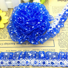 New 5 yards 2-Layer 30mm Blue organza Lace Gathered  Pleated Sequined Trim TJ25