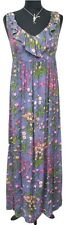 PHASE EIGHT Dress Size 10 Maxi Blue w/Pink Yellow Floral Designer Casual
