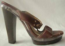 MICHAEL KORS BROWN  LEATHER PLATFORM SANDALS WOODEN HEEL CLEAR PLASTIC PLATFORM