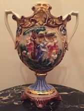 Norleans Antique Tall Large Vase Urn Hand Made Painted Italy Porcelain
